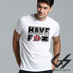 HAVE FUN運動風磨毛水洗T恤 (白色)-GraphicSpace