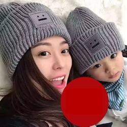 梨花HaNA 韓國可愛簡單的方塊笑臉毛帽(親子款)