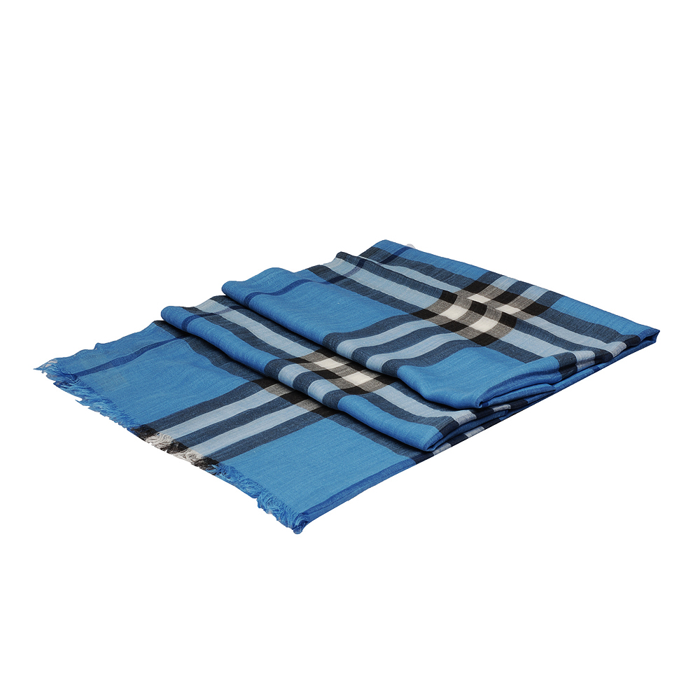 BURBERRY 經典輕盈格紋初羊毛絲綢大披肩/圍巾(淺靛藍)