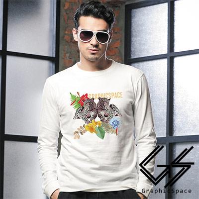 雙豹花朵圖案磨毛水洗長袖T恤 (共三色)-GraphicSpace
