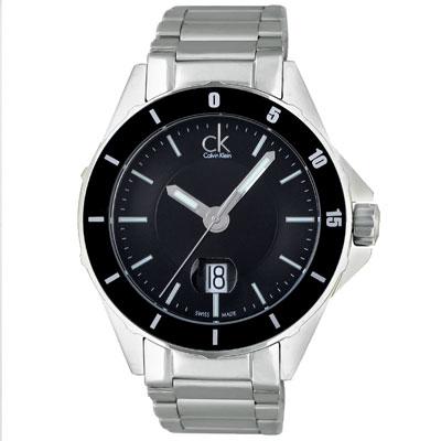 cK Play 都會運動時尚風鍊帶腕錶-黑/ 44 mm