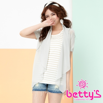 betty-s貝蒂思-透視雪紡拼接開襟針織罩衫-淺灰色