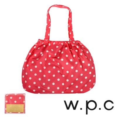 w.p.c 時尚包包雨衣/束口防雨袋 (紅底白點)