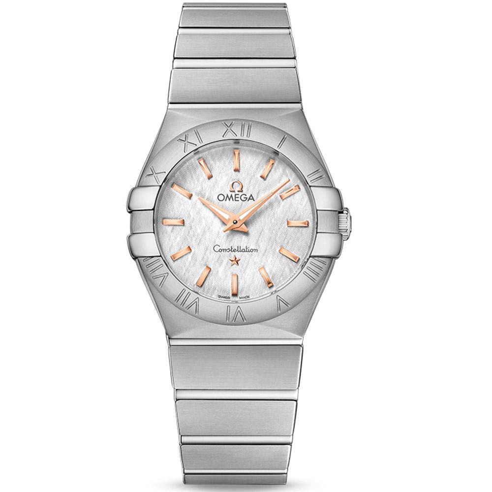 Omega 歐米茄constellation星座系列蛋白石銀色玫瑰金石英腕錶-27mm