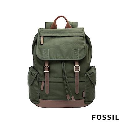 FOSSIL BUCKNER 防潑水帆布真皮後背包-探險墨綠色