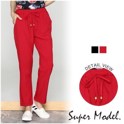 綁帶雙口袋休閒褲-共2色(M-XL適穿) 名模衣櫃