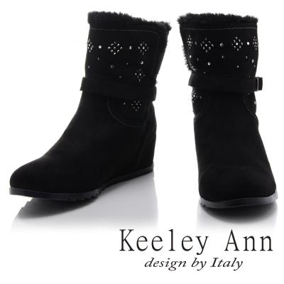 Keeley Ann 暖心冬季~絨毛滾邊水鑽點綴內增高短靴(黑色)