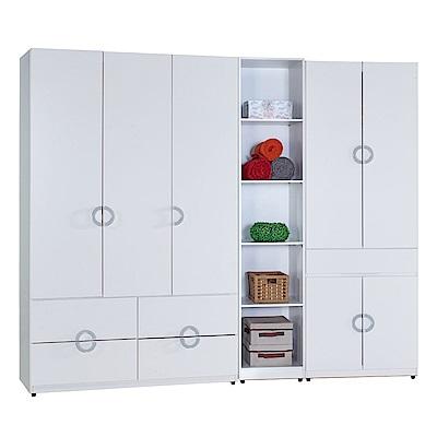 AT HOME-凱倫8尺白色三件組合衣櫃[四抽+五格+中抽掀鏡](230*54*197cm