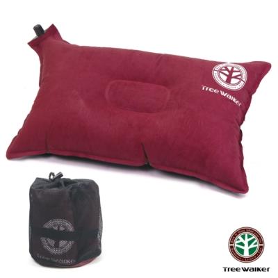 TreeWalker 舒適麂皮自動充氣枕頭- 紅色