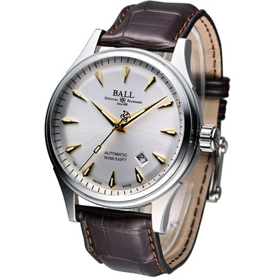 BALL Firman Racer Classic 經典機械腕錶-銀白/皮帶/42mm