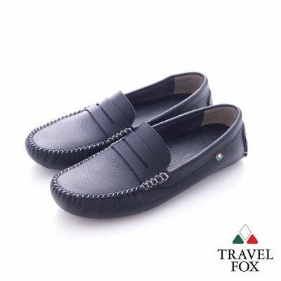 Travel Fox (男) - 斯文 牛皮輕便PENNY 司機鞋- 深藍