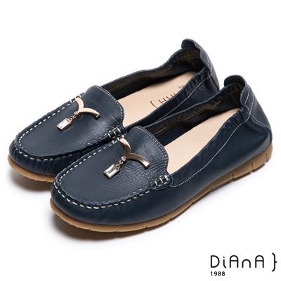 DIANA 舒適百搭--純淨海鷗鑽飾真皮平底鞋-深藍