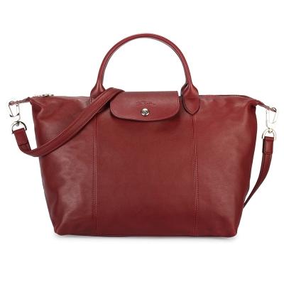 Longchamp Le Pliage Cuir小羊皮短把折疊中型水餃包-暗紅色