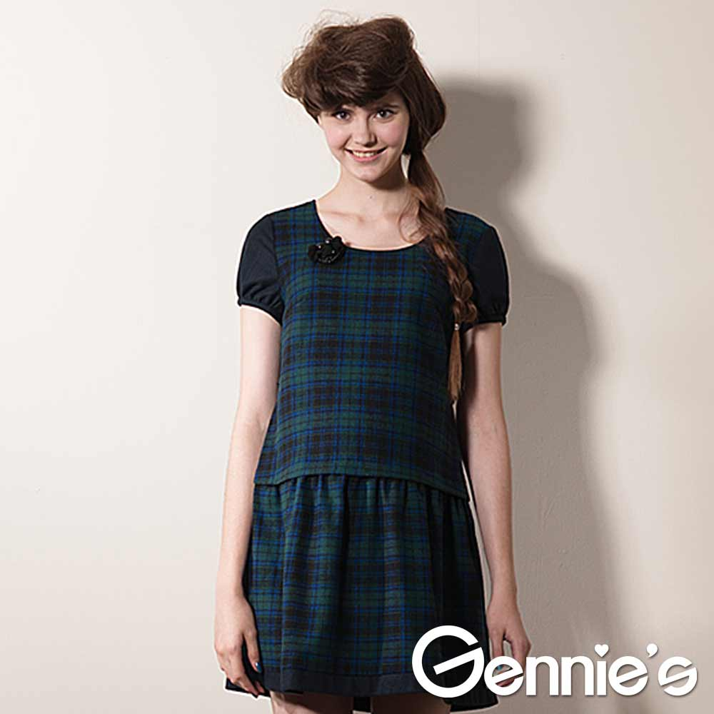 【Gennie's奇妮】學院氣質綠格紋羊毛秋冬孕婦洋裝-綠(G1405)