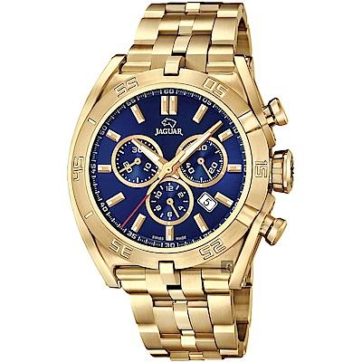 JAGUAR積架 EXECUTIVE 計時手錶-藍x金/45.8mm