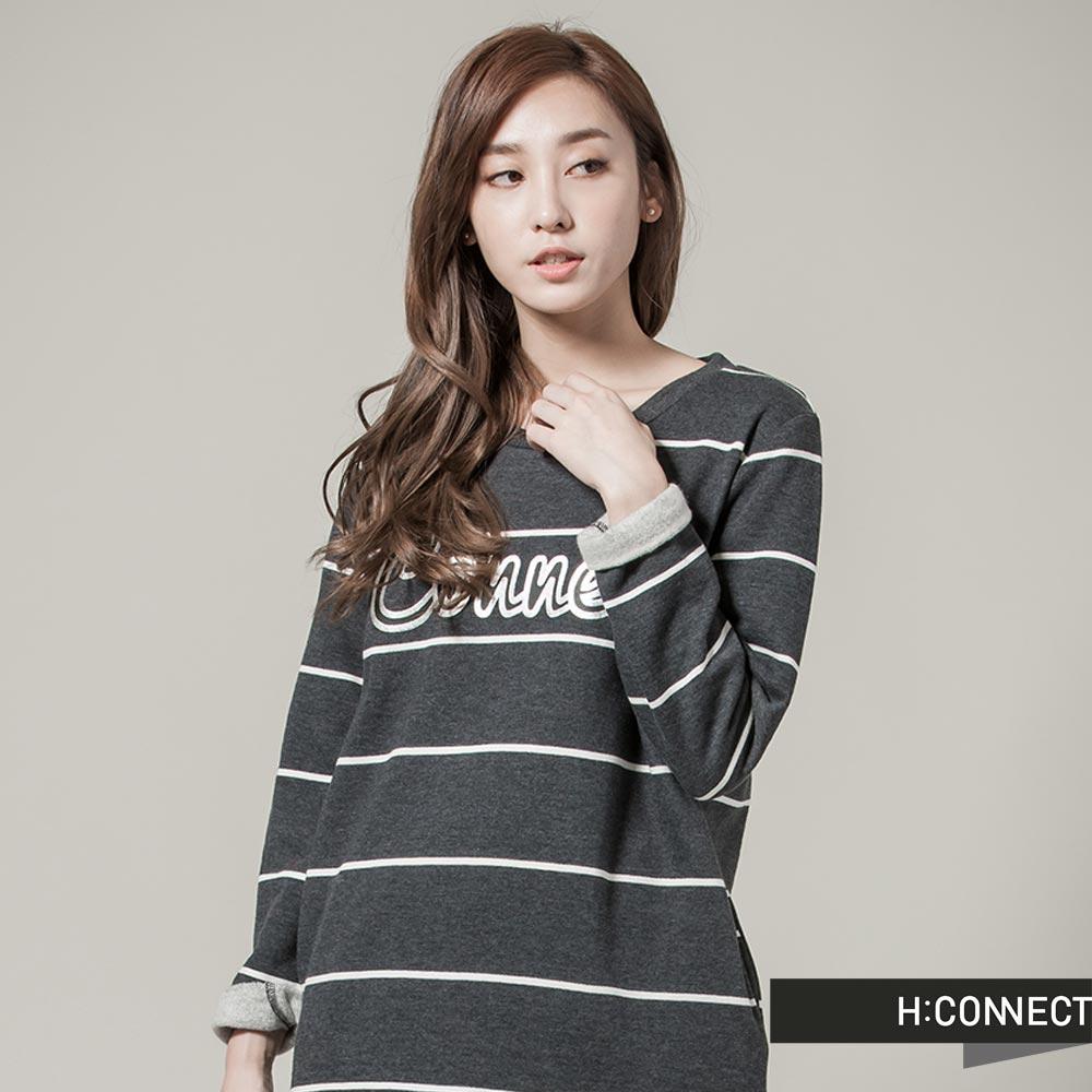 H:CONNECT 韓國品牌  女裝 - CONNECT 條紋長袖洋裝 - 黑