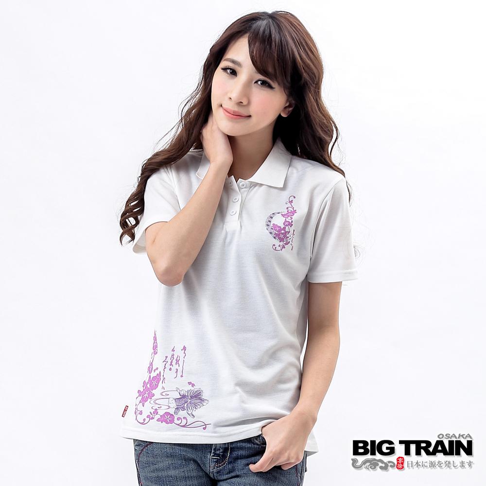 BIG TRAIN 繁花金魚POLO衫-女-白