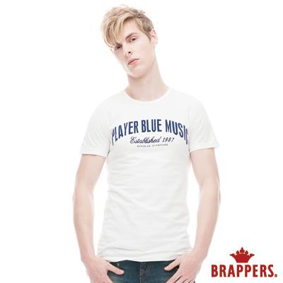 BRAPPERS 男款 英文拼接純棉圓領短袖上衣-白