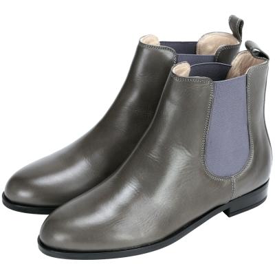 anna baiguera 牛皮拼接設計低筒靴(深灰色)