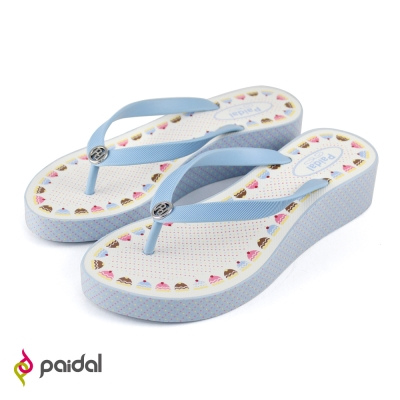 Paidal蛋糕甜點厚底夾腳拖鞋-天使藍