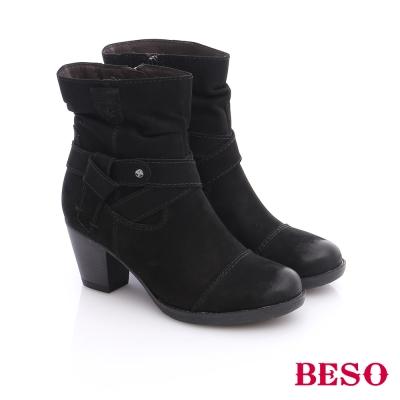 BESO-簡約知性-蠟感牛皮繞帶粗跟短靴-黑色