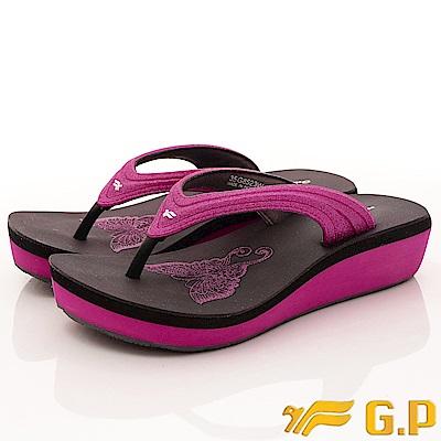 GP時尚涼拖-夾腳楔形鞋款-EI523W-15黑桃粉(女段)