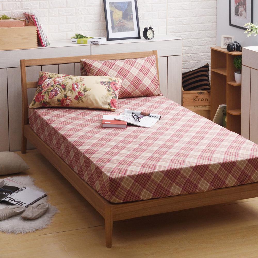 喬曼帝Jumendi-古典玫瑰 台灣製活性柔絲絨加大三件式床包組