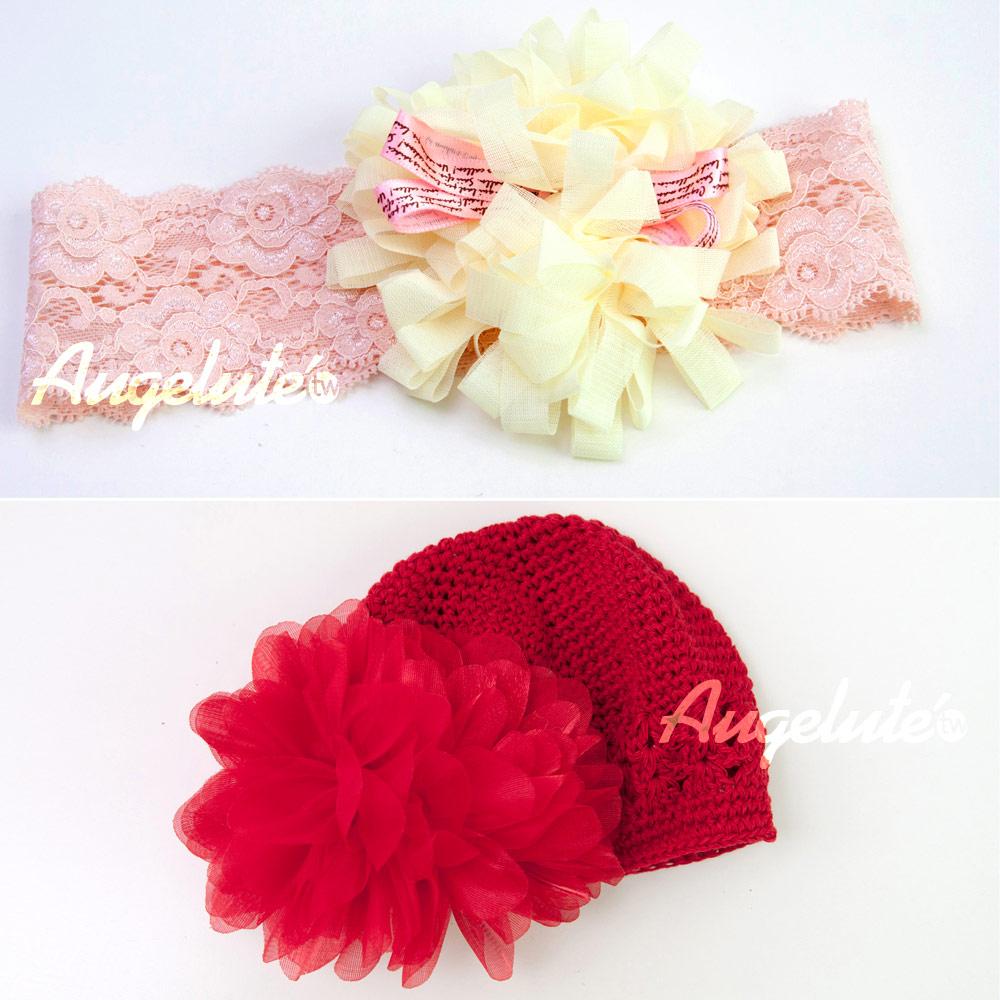 【baby童衣】女寶寶紅色鉤花帽 淡黃清新髮帶 F1030