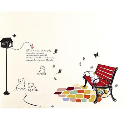 A-126手繪動物系列 貓咪郵箱 大尺寸高級創意壁貼  牆貼