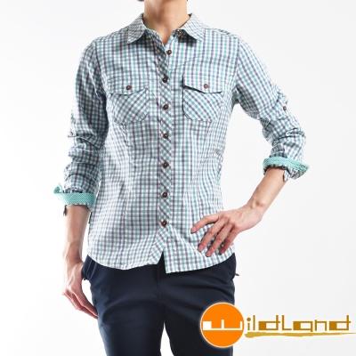 Wildland 荒野 0A22201-47藍綠 女 彈性格子布保暖襯衫