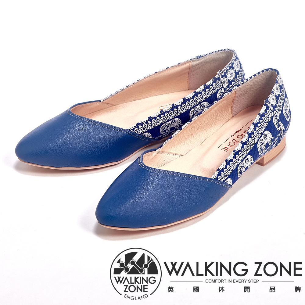 WALKING ZONE 簡約百搭拼布低跟女鞋-藍