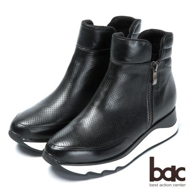 bac休閒時尚 隱藏增高厚底短靴-黑