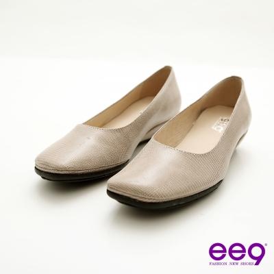ee9-優雅美人-通勤必備復古方頭超柔軟真皮楔型鞋