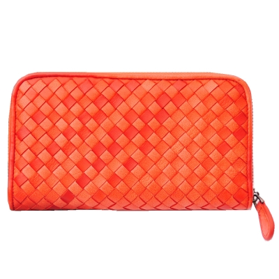 Yasmine 進口羊皮手工編織雙色拉鍊長夾(橙紅)