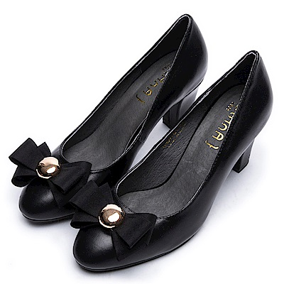 DIANA個性x甜漾換釦真皮原色跟鞋-百搭多變–黑