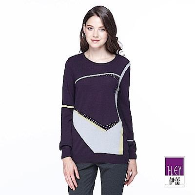 ILEY伊蕾 幾何線條羊毛圓領針織上衣(紫/藍)