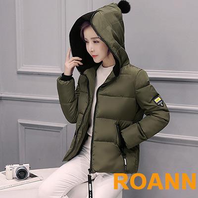 連帽英文貼布羽絨棉外套 (共四色)-ROANN