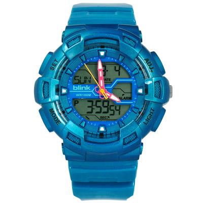 JAGA 捷卡  電子指針世界時間計時碼錶鬧鈴防水橡膠 軍錶 手錶-藍色/51mm