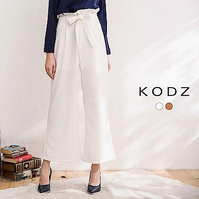 東京著衣-KODZ-修身女神風高腰荷葉設計長寬褲