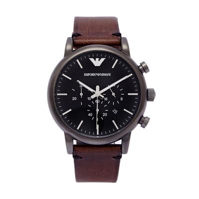 ARMANI 霸氣時尚男性三眼計時皮革手錶(AR1919)-黑面X咖啡/44mm