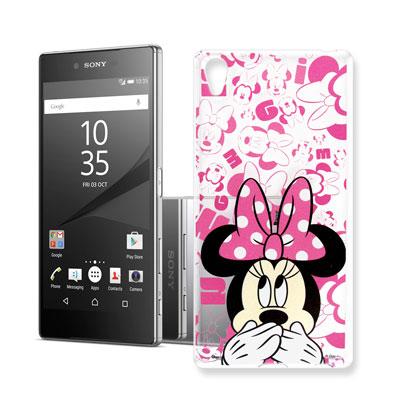 迪士尼 索尼 Xperia Z5 Premium 大頭背景透明手機軟殼(摀嘴米妮...