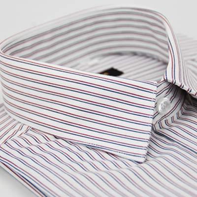 金‧安德森 白底紅藍條紋窄版長袖襯衫