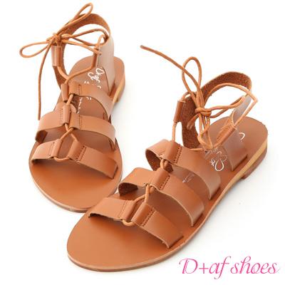 D+AF 個性潮流.交叉綁繩平底羅馬涼鞋*棕