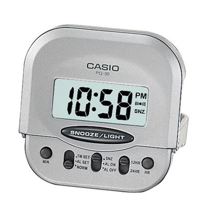 CASIO 輕巧型超小旅行用可摺疊鬧鐘(PQ-30-8)-灰
