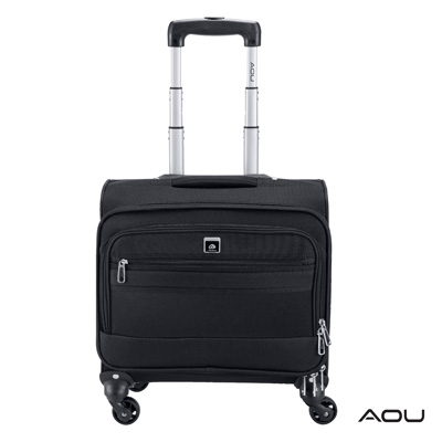 AOU 超輕量防潑水電腦拉桿公事包 旅行箱(典雅黑)26-045