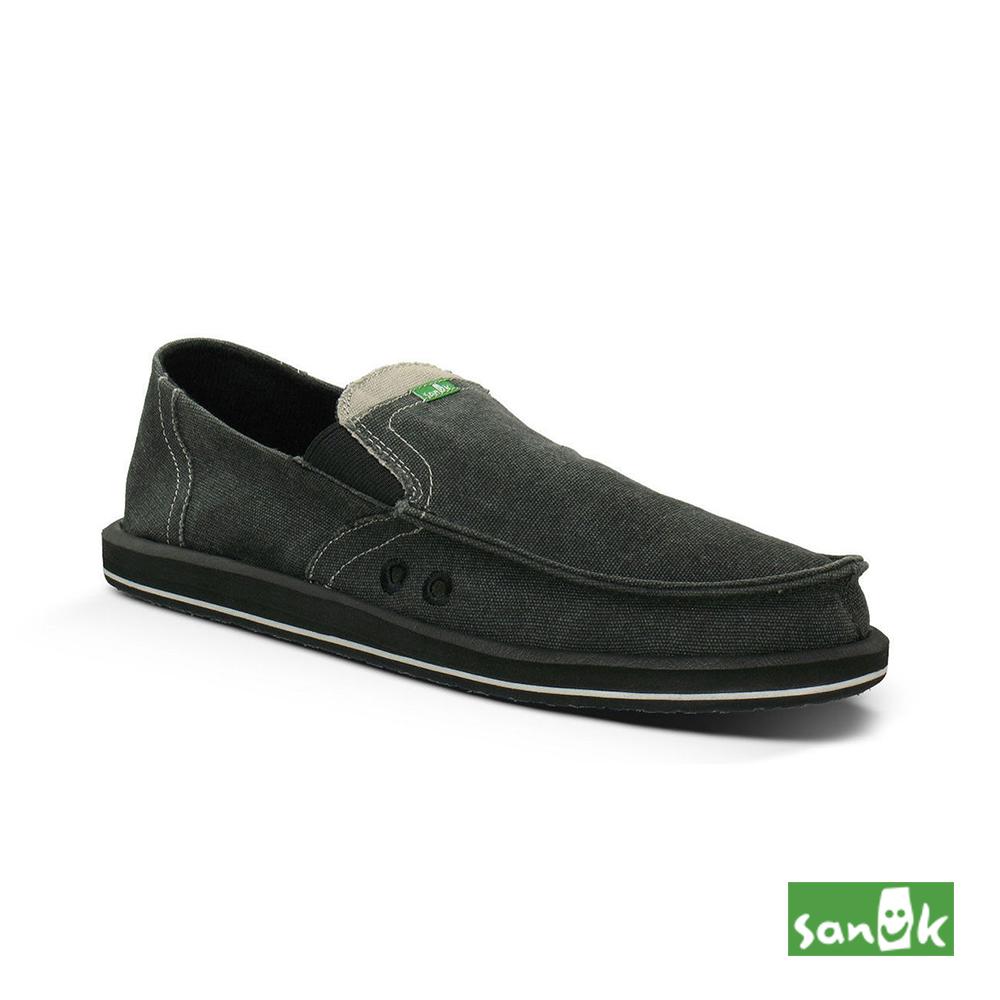 SANUK 經典款帆布素面懶人鞋-男款(鐵灰色)