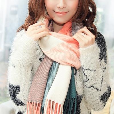 幸福揚邑 羊絨質感格紋保暖圍巾/披肩-粉綠格