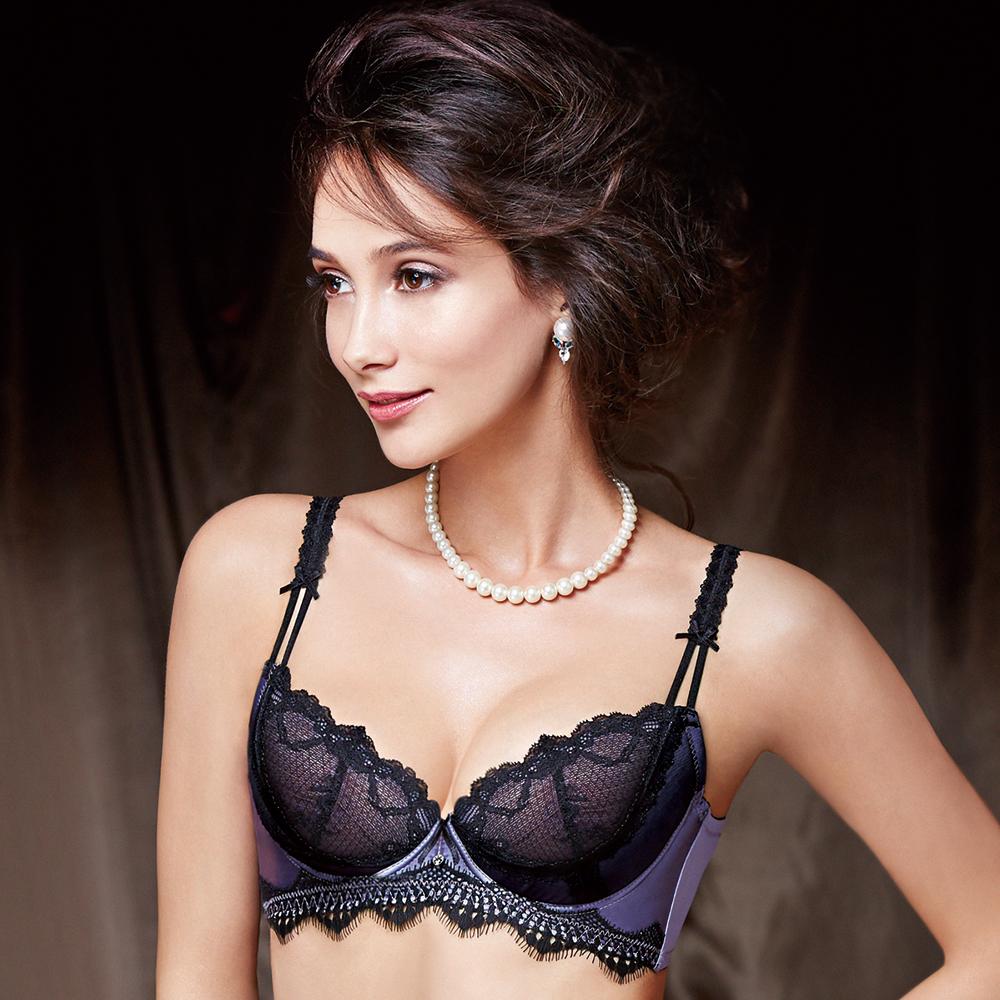 La Felino - 紫色魅惑3/4罩無襯半絲棉款C-E罩杯內衣 (魔力紫)