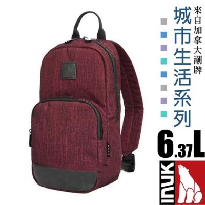 【加拿大 INUK】城市生活 熱賣款 潮牌超輕便多口袋單肩側背包6.3L_絳紅