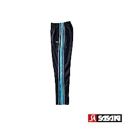 SASAKI 多功能保暖熱身運動長褲-男-黑/鮮藍